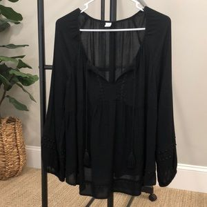 Black boho blouse